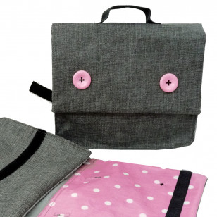 Cartable rose et gris, I see small dots !