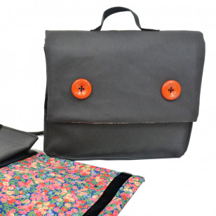 Cartable gris & liberty
