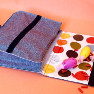 Cartable de maternelle gris & rabat à pois, petit format