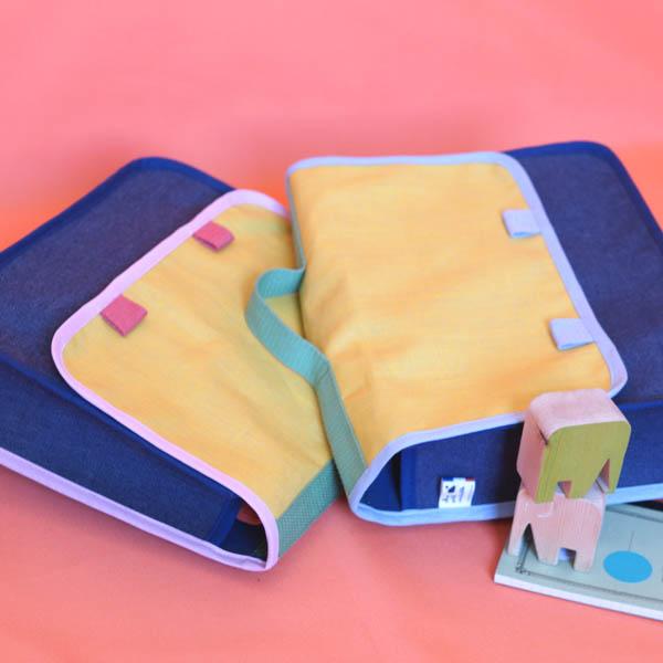 Cartable jaune & jean, petit format