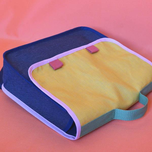 Cartable jaune & jean, 2 modèles petit format