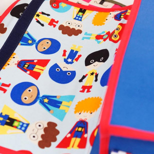 Cartable maternelle - Collection Super Corbu, toile bleue recyclée