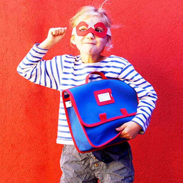 Cartable maternelle - Collection Super Corbu, toile bleue recyclée