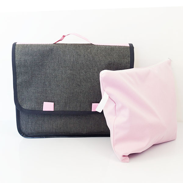 Cartable de maternelle jean biais rose, petit format