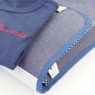Cartable petit format jean, biais à pois