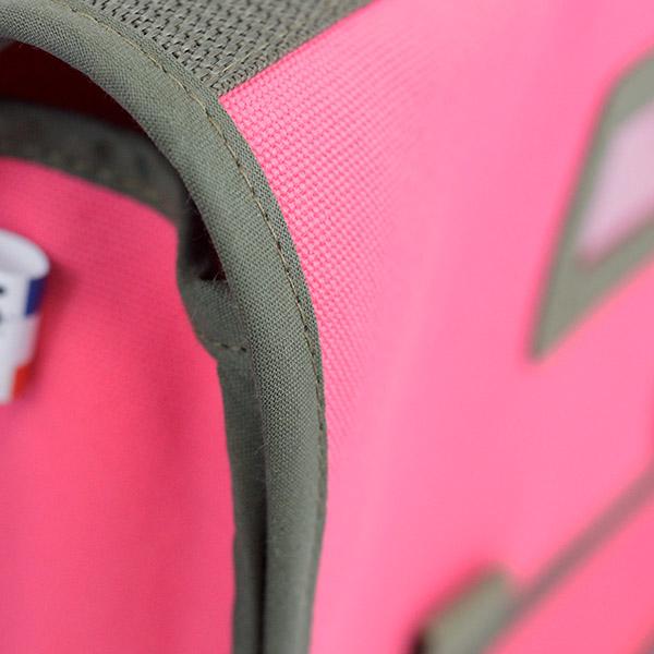 Petit cartable rose - Collection Super Corbu, toile recyclée