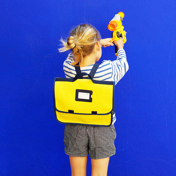 Cartable jaune - Collection Super Corbu, toile recyclée