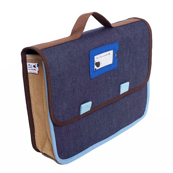 Cartable bleu de maternelle, Denim lama