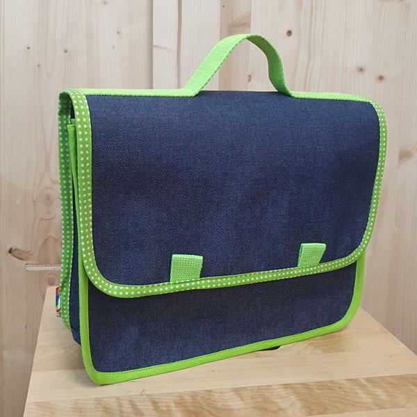Cartable wax vert et jean pour la maternelle, petit format