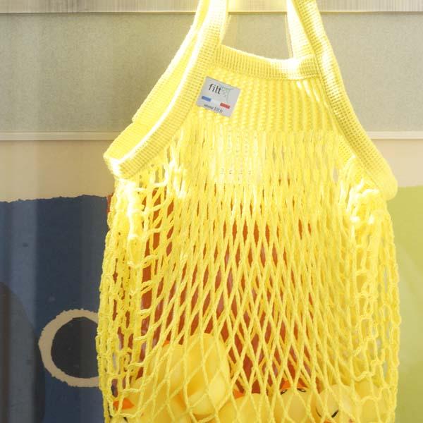 Petit sac filet jaune solarium