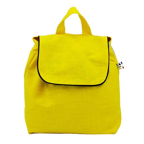 Sac à dos enfant, lin jaune citron acide