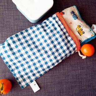 Housse serviette/petit sac gouter, vichy bleu canard