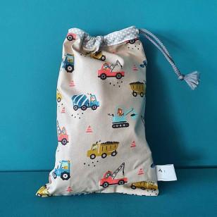 Housse serviette/petit sac gouter, véhicules de chantier