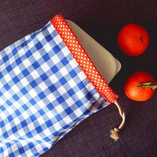 Housse serviette/petit sac gouter, vichy bleu