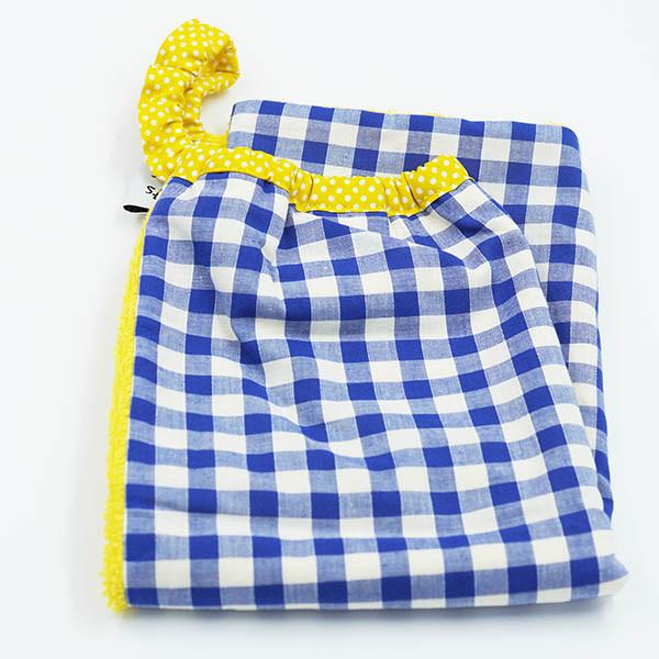 Serviette élastiquée vichy bleu